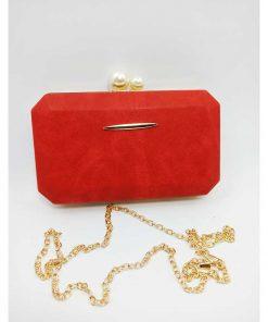 Red Color Sleek Design Evening Clutch Bags