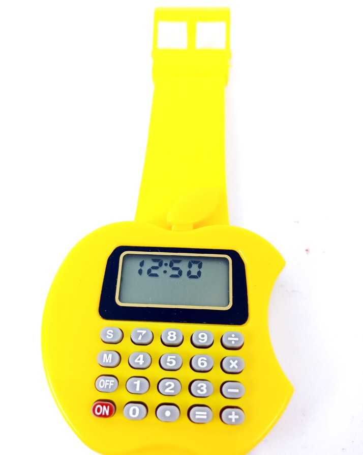 Yellow Color Watch+Calculator Apple shape for men and women